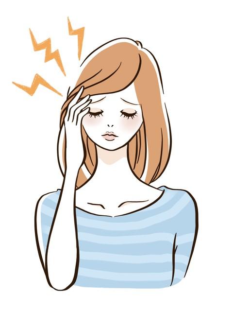 頭痛の女性のイラスト